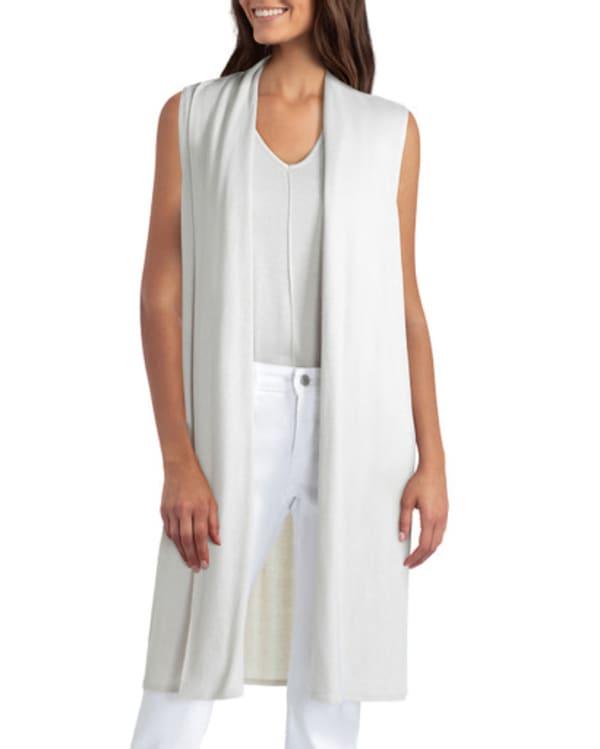 Isaac Mizrahi Knit Cotton Vest - Stone - Front