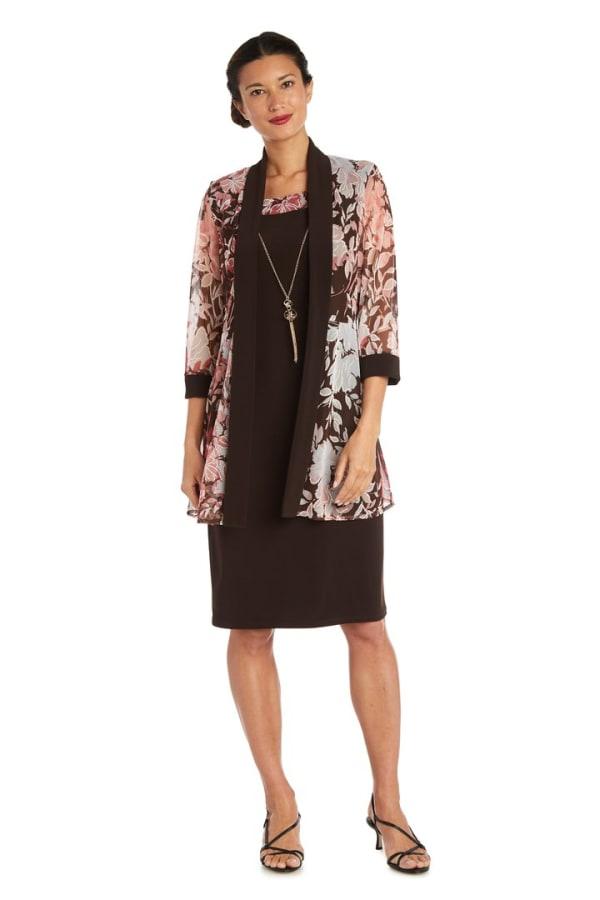 Puff Floral Brown/Peach Print Jacket Dress