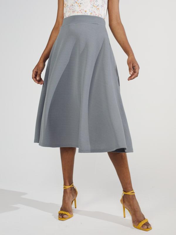 Tasmin Flare Floral Midi Skirts - Plus - Grey - Front