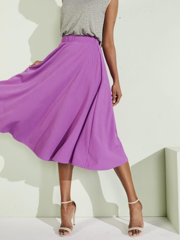 Tasmin Flare Floral Midi Skirts - Plus - Purple - Front