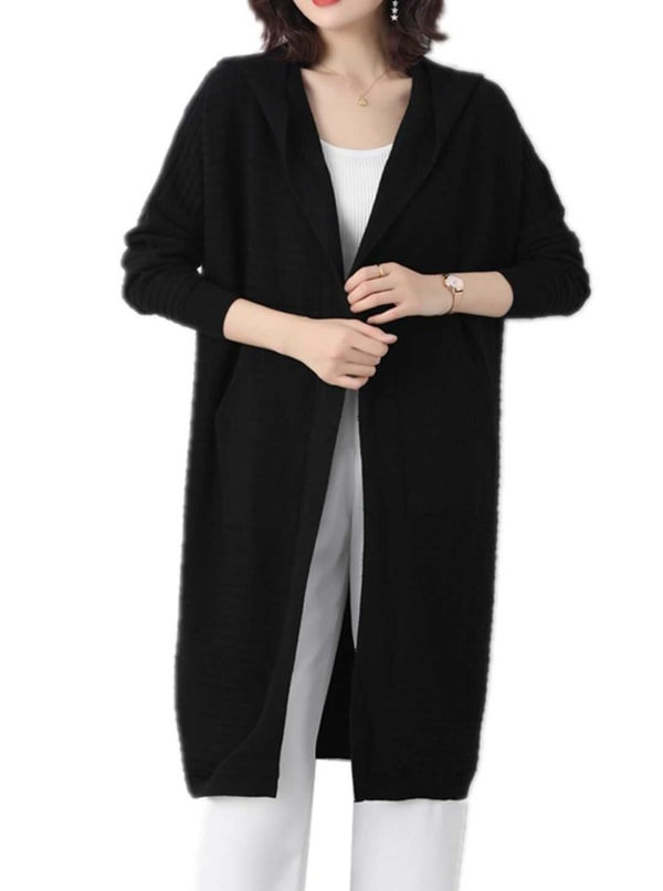 Hooded Ottoman Duster - Black - Front