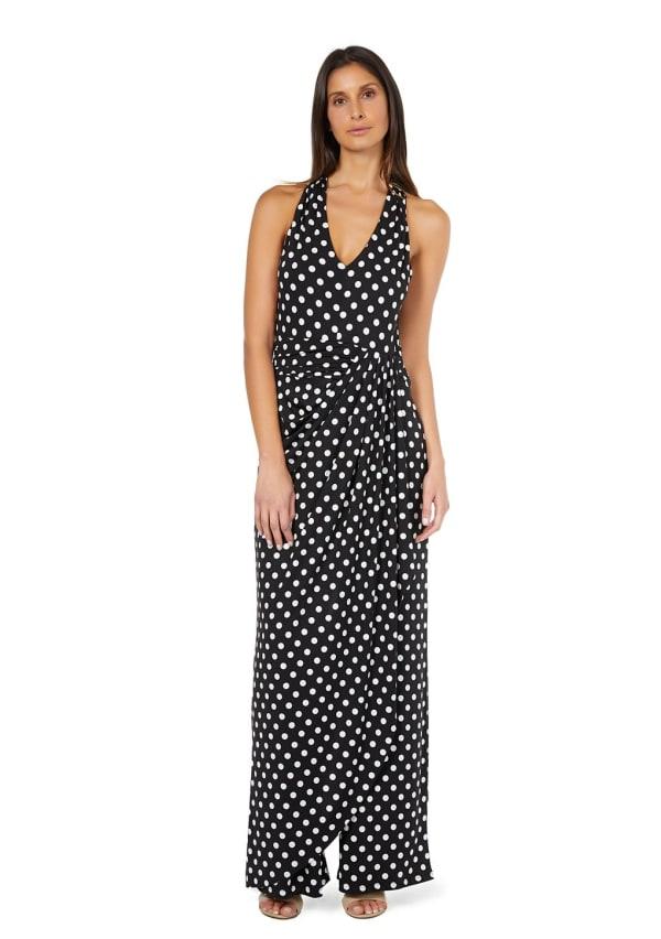 Marina Dresses V-Neck Side Drape Polka Dot Jumpsuit - Black / White - Front