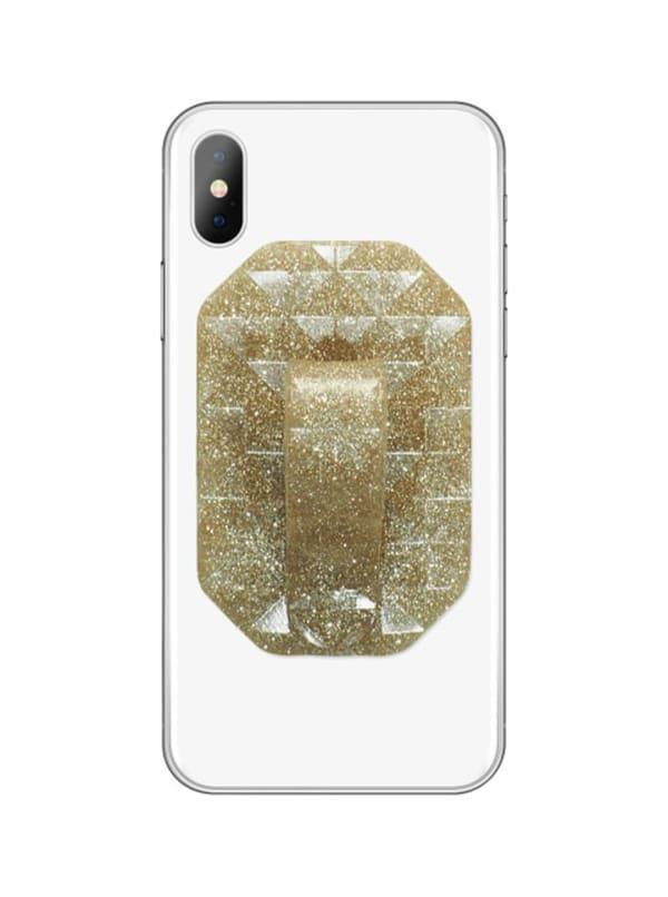 Geometric Phone Finger Holder - Gold Glitter - Front