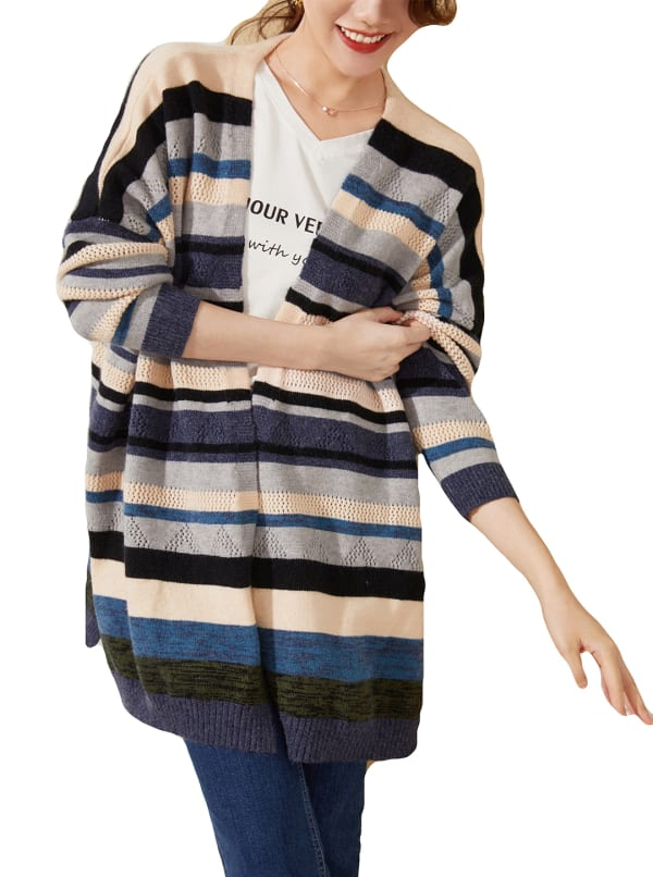 Drop Shoulder Stripe Cardigan