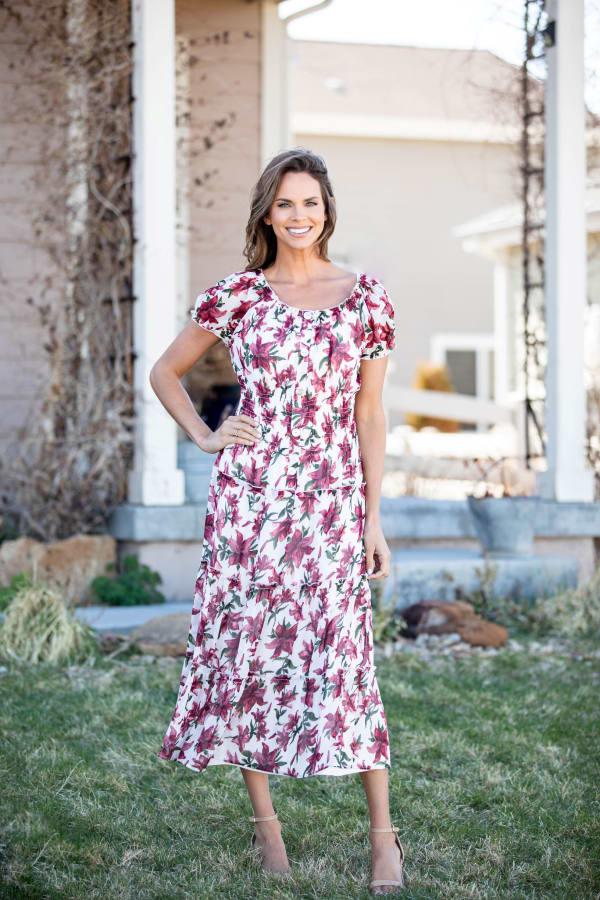 Vienna Wine Floral Maxi Dress