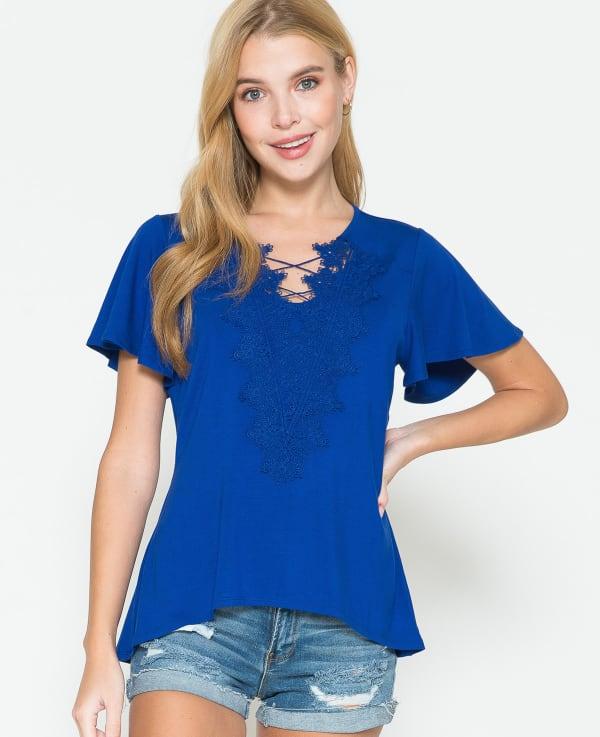 Westport Crochet Trim Flutter Sleeve Knit Top - Misses - Royal Blue - Front