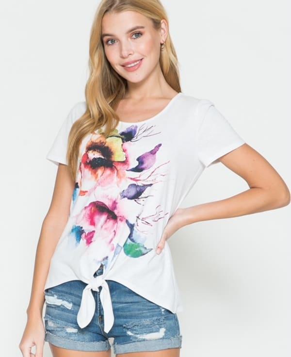 Westport Floral Tie Front Screen Tee - Misses - White - Front
