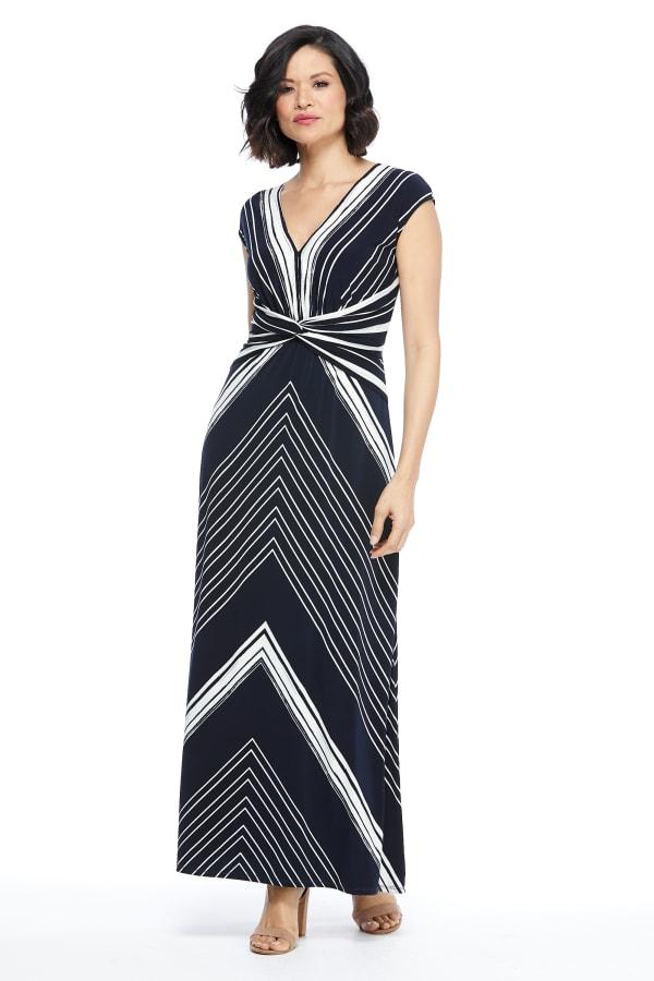 Lina Short Sleeve with Twist Bodice Maxi Dress - Petite