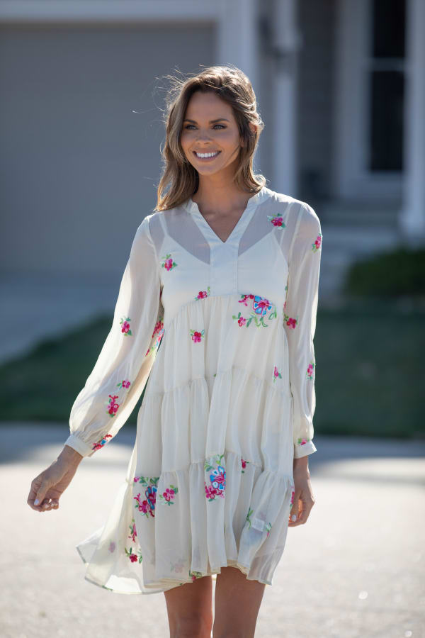 Odessa Ivory Embroidered  Baby Doll Dress - Misses - Linen - Front