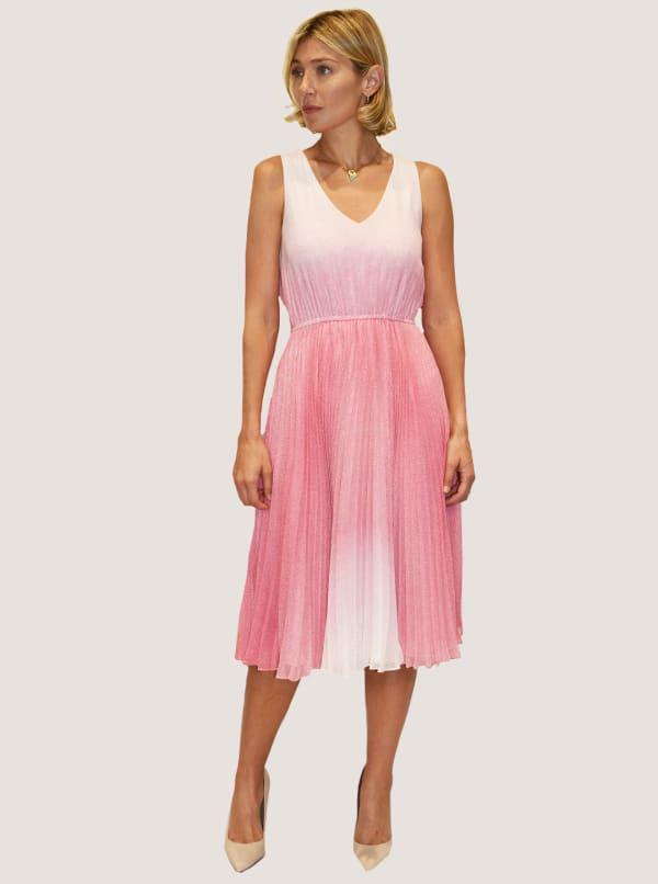 Taylor Dresses Sleeveless Chiffon Ombre Dot Print Midi Dress - Ivory / Pink - Front