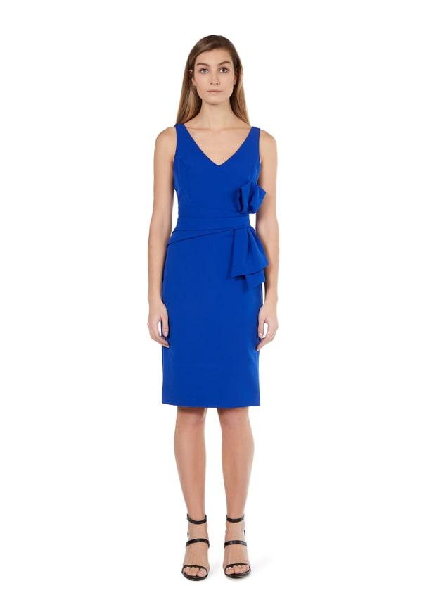 Marina Dresses V-Neck Stretch Crepe Bow Dress - Cobalt - Front