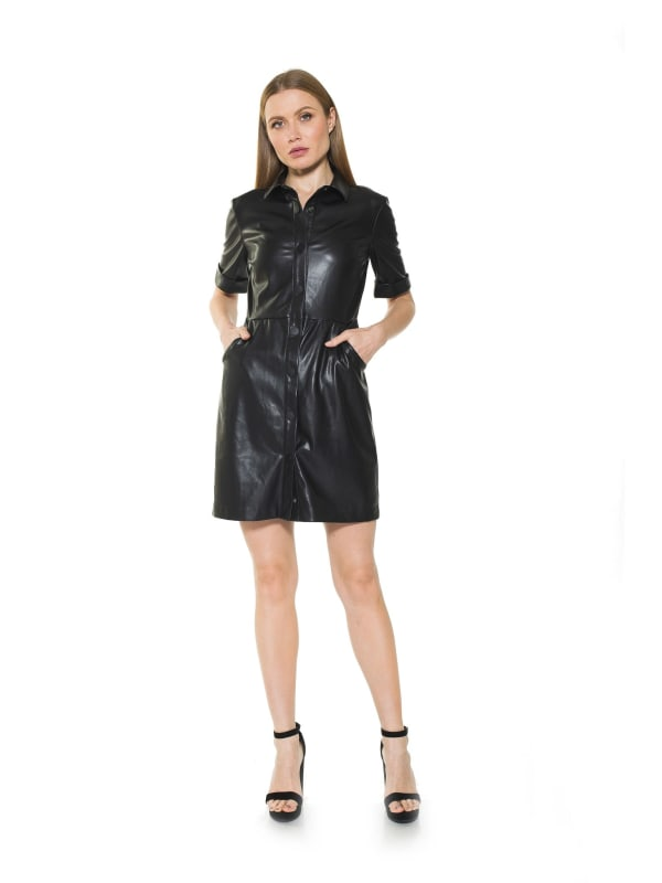 Janine Faux Leather Short Sleeve Dress - Black - Front