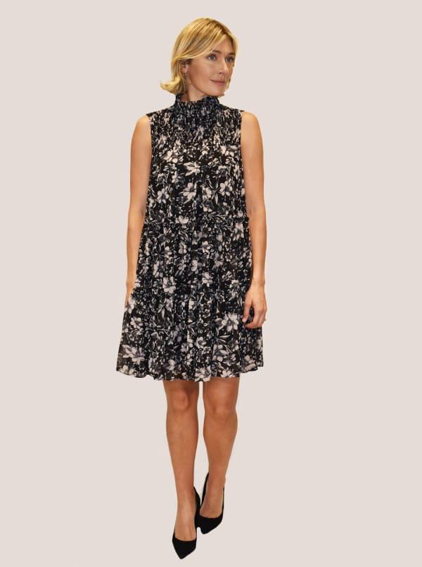Taylor Dresses Sleeveless Mock Neck Smocked Floral Print A-Line Chiffon Dress - Black / Ivory - Front