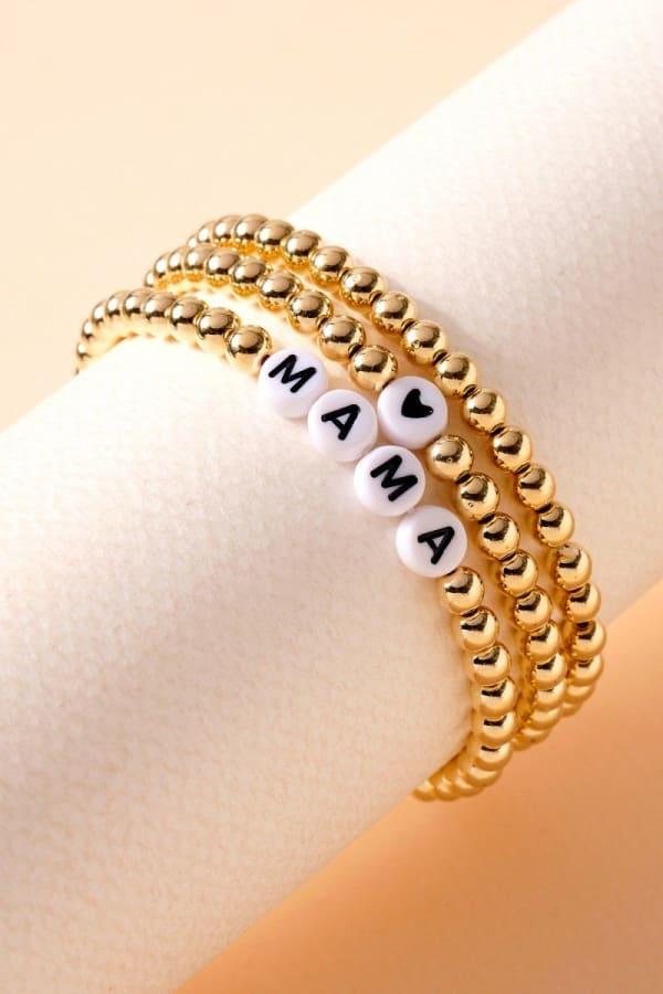 Mama Inspirational Metal Beaded Bracelet Set