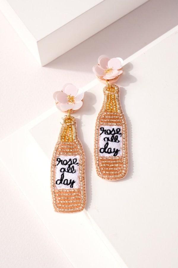 Wine Bottle Seed Beaded Earrings