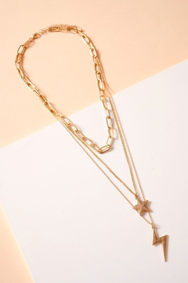 Star Thunder Bolt Charms Layered Necklace