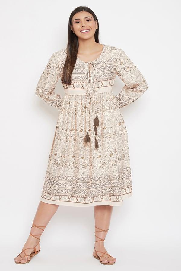 Drawstring Beige Polyester Dress