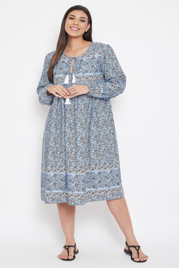 Drawstring Sky Blue Polyester Dress - Plus