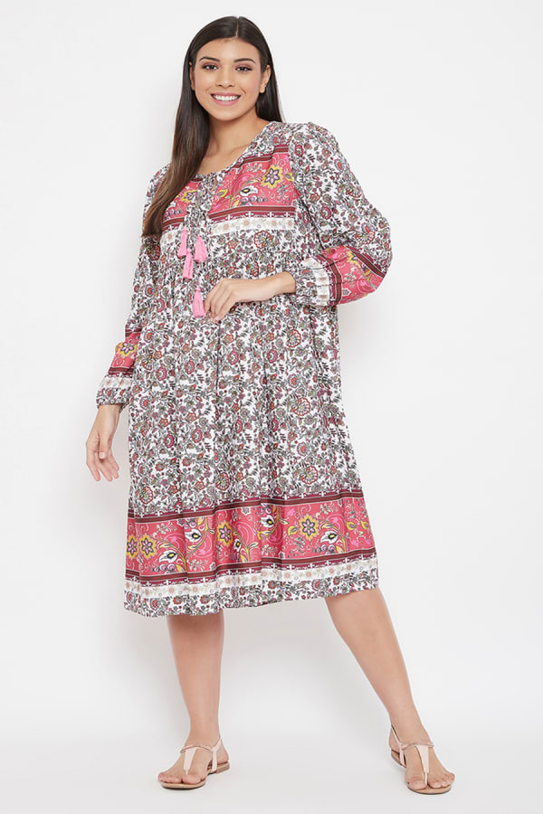 Drawstring Pink Polyester Dress - Pink - Front