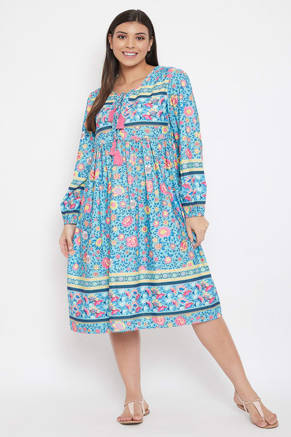 Drawstring Turquoise Blue Polyester Dress