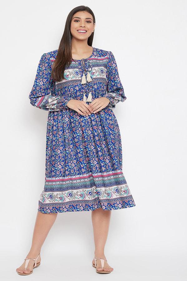 Drawstring Blue Polyester Dress