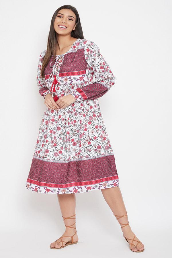 Drawstring Burgundy Polyester Dress - Plus - Burgundy - Front