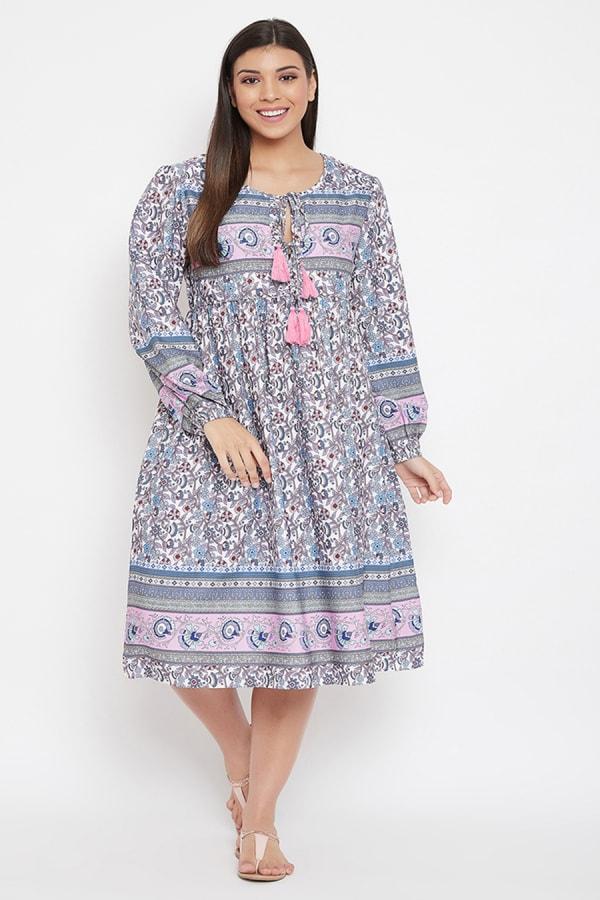 Drawstring Gray Polyester Dress - Plus - Gray - Front