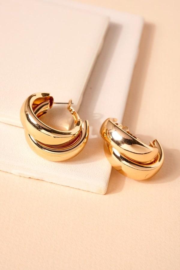 Layered Metal Hoop Earrings