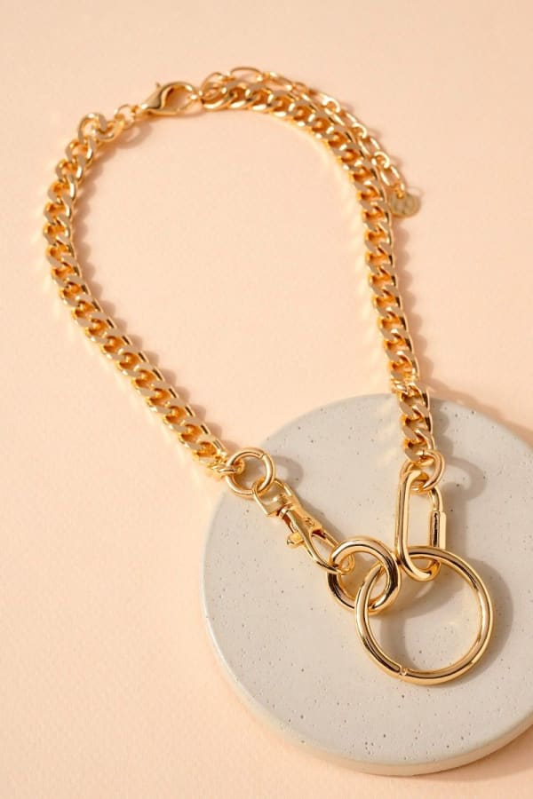 Ring Charm Chain Linked Necklace