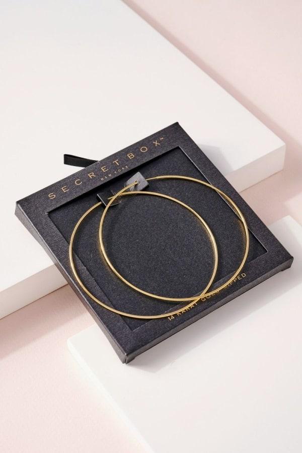 Secret Box Gold Dip Hoop Earrings