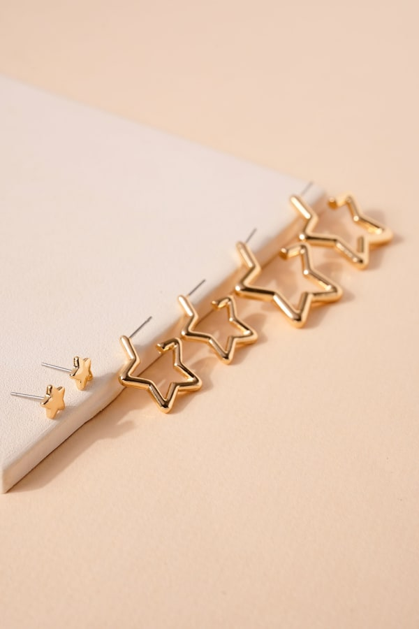 Set of Star Shaped Open Hoops and Post Earrings