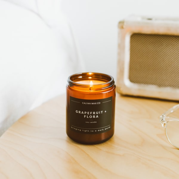 Amber Jar Soy Grapefruit and Flora Candle