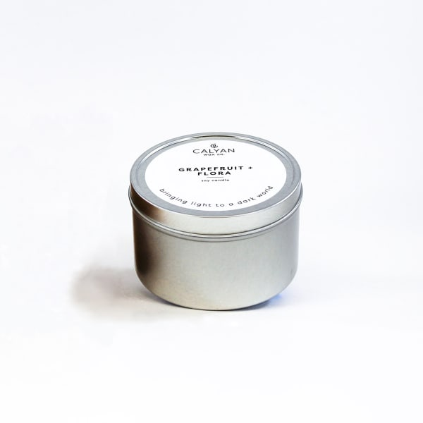 Metal Tin Soy Grapefruit and Flora Candle - Silver - Front
