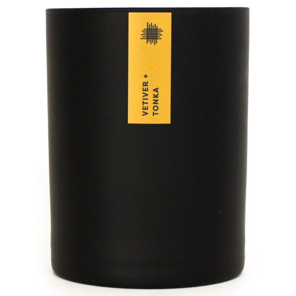 Matte Black Tumbler Soy Vetiver and Tonka Candle