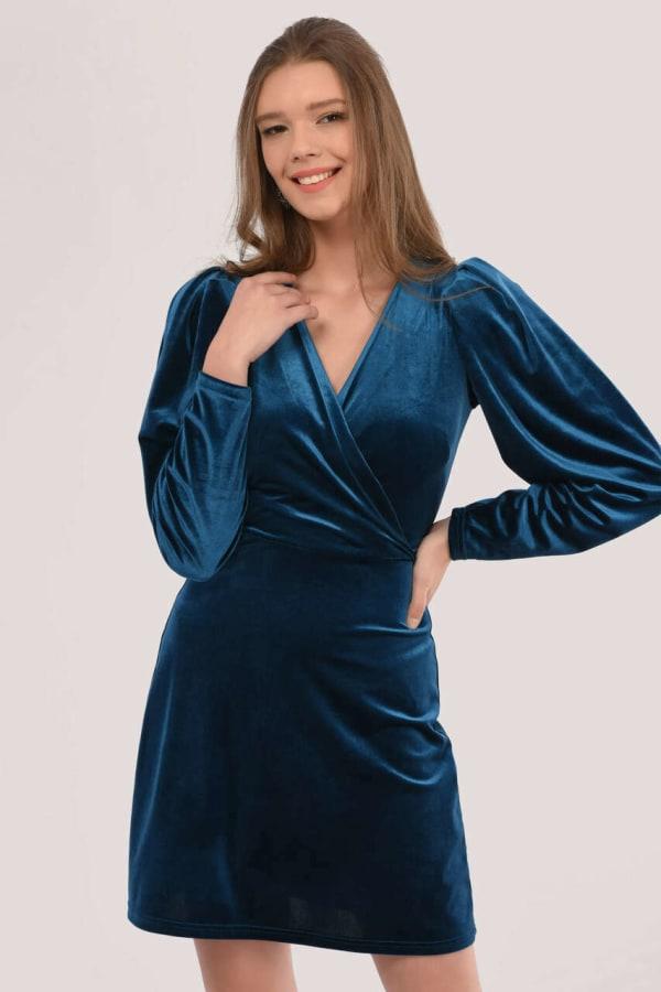 Navy Velvet Wrap Dress