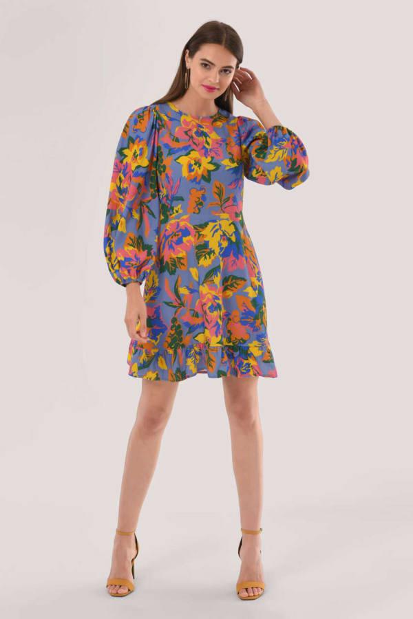 Blue Multi Closet Frill Hem Dress