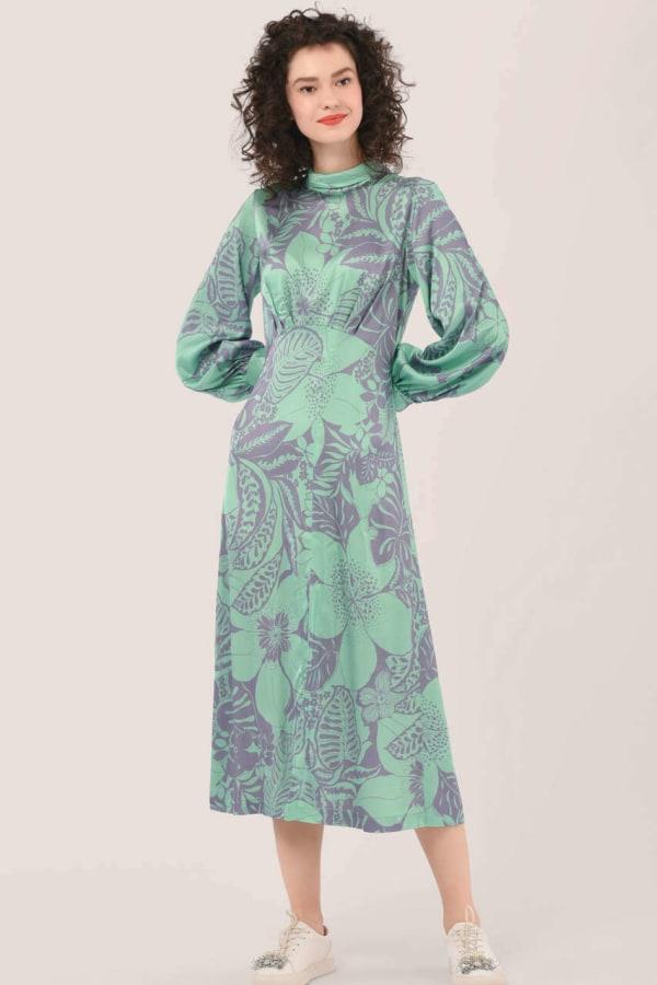 Green Roll Neck Puff Sleeve Dress