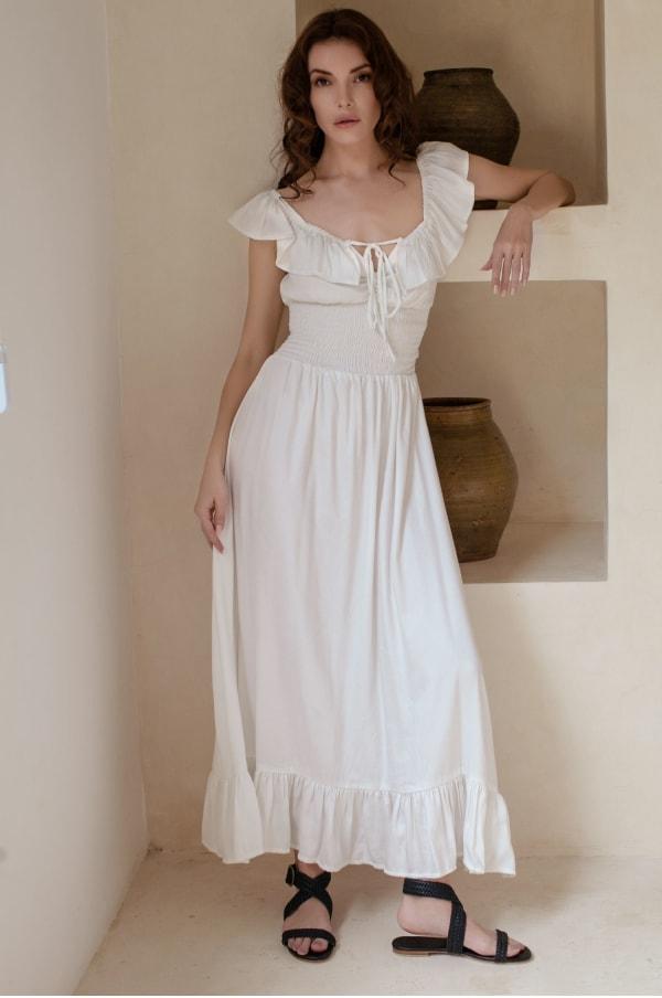 Florence Off Shoulder Maxi Dress - Plus - White - Front