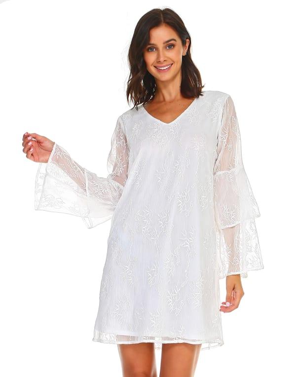 Laura V Neck Lace Dress