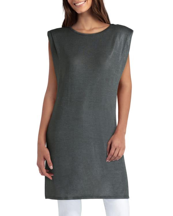 H Halston Knit Pleat Neck Sleeveless Tunic