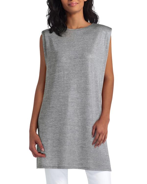 H Halston Knit Pleat Neck Sleeveless Tunic - Stone - Front