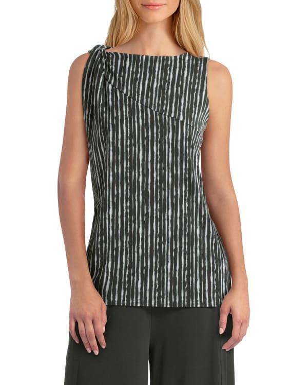 H Halston Knit Twist Neck Sleeveless Pullover