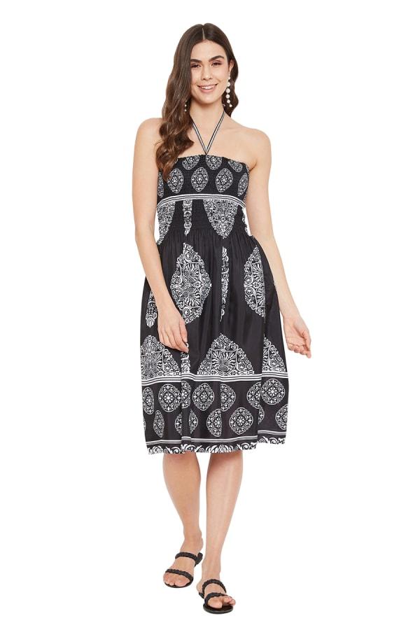 Paisley Pattern Mini Tube Dress - Black - Front