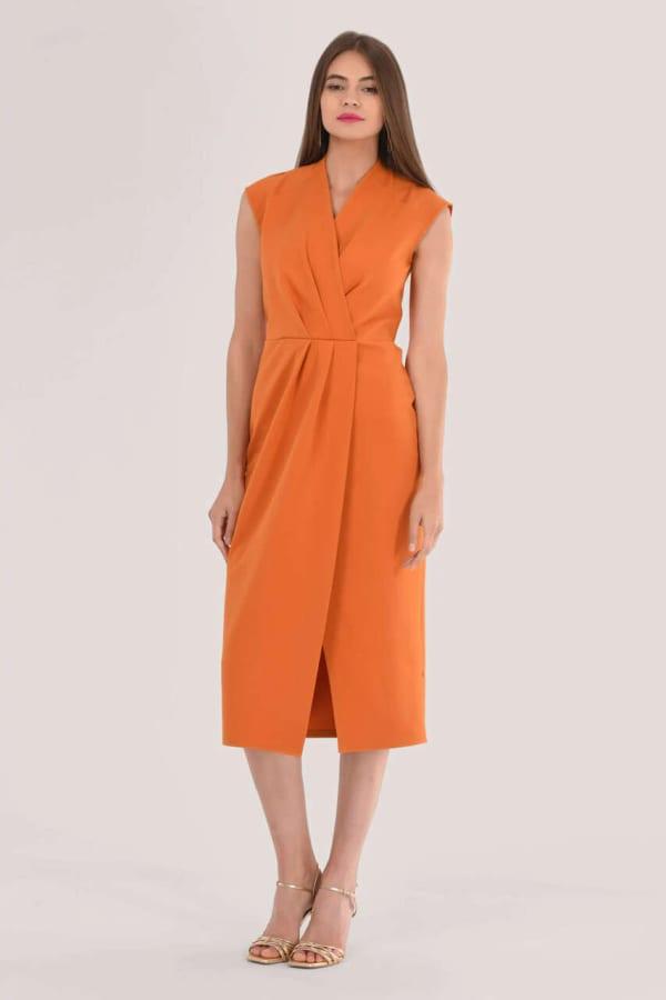 Orange Pleated Wrap Pencil Dress