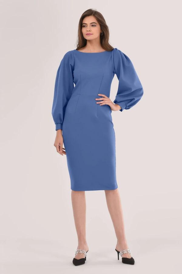 Blue Long Sleeve Pleated Pencil Dress