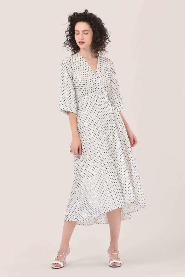 Ivory High Low Wrap Dress
