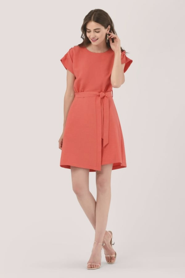 Coral Kimono Tie Waist Mini Dress