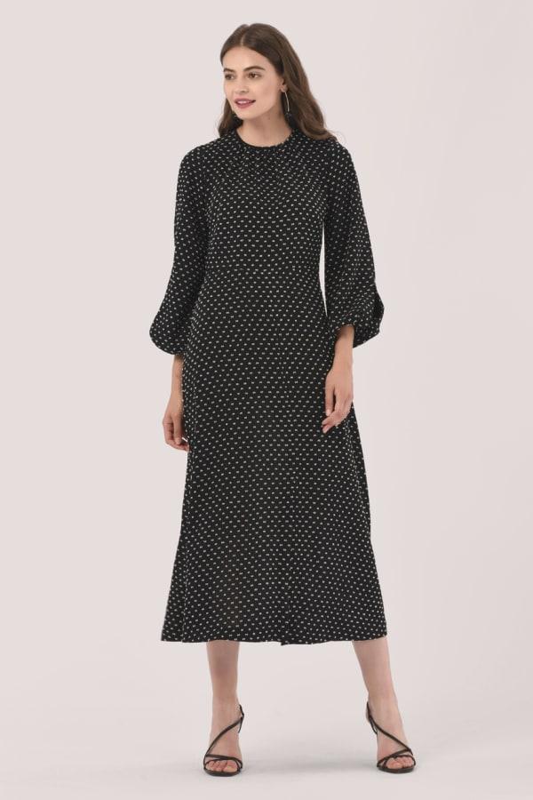 Black Gathered Neck A Line Midi Dress