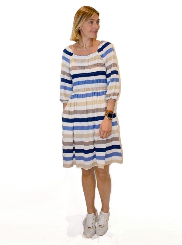 Smocked Stripe Knit Dress