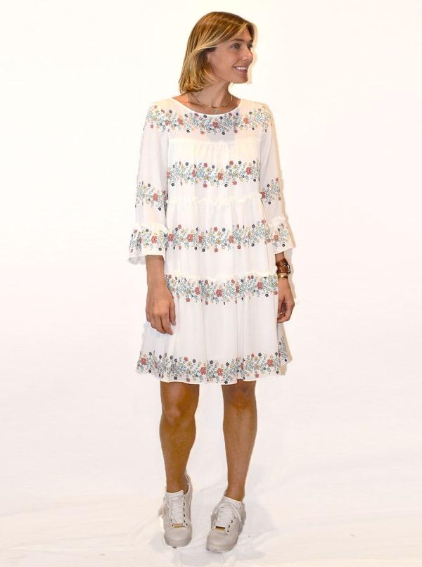 Floral Stripe Babydoll Dress - Ivory / Jade / Coral - Front
